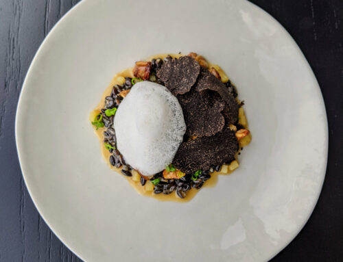 Black barley and potato risotto, wattleseed, chestnut, lions mane, truffle